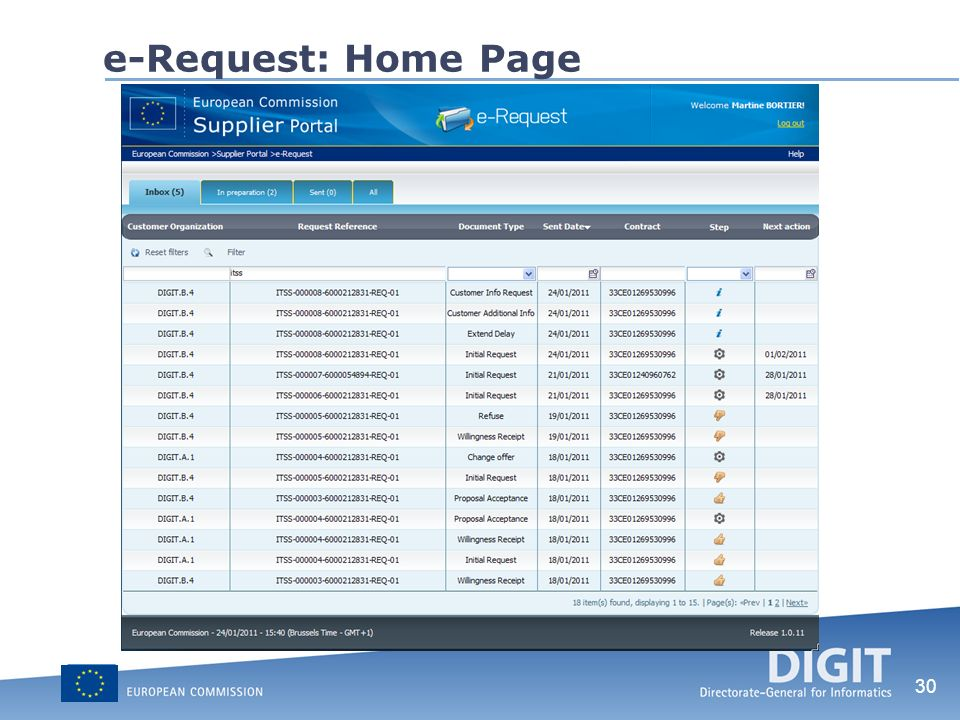 30 e-Request: Home Page