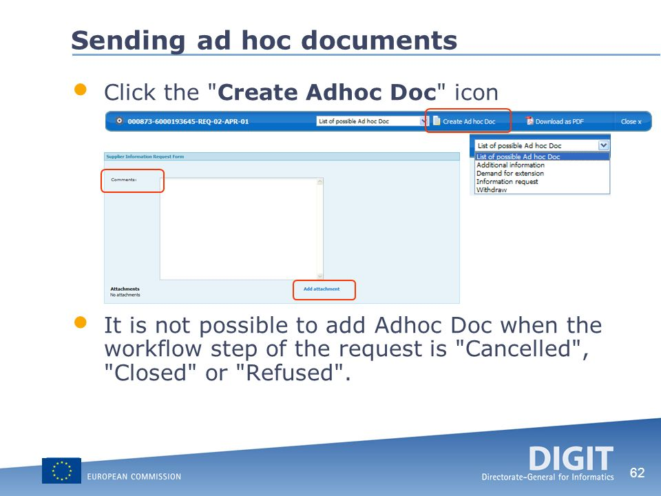 62 Sending ad hoc documents Click the