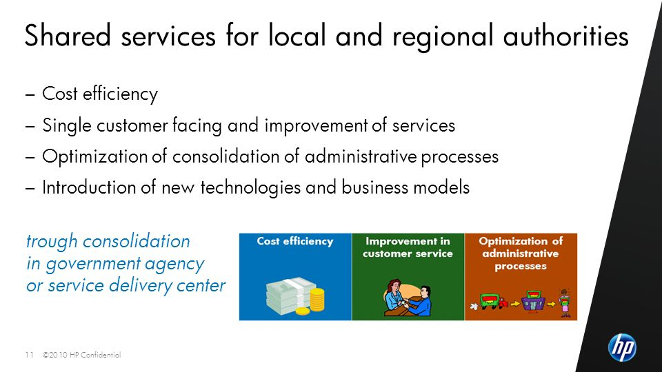 ©2010 HP Confidential11 Shared services for local and regional authorities – Cost efficiency – Single customer facing and improvement of services – Optimization of consolidation of administrative processes – Introduction of new technologies and business models trough consolidation in government agency or service delivery center