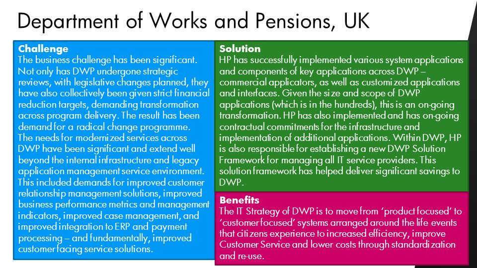 ©2010 HP Confidential13 Challenge The business challenge has been significant. Not only has DWP undergone strategic reviews, with legislative changes
