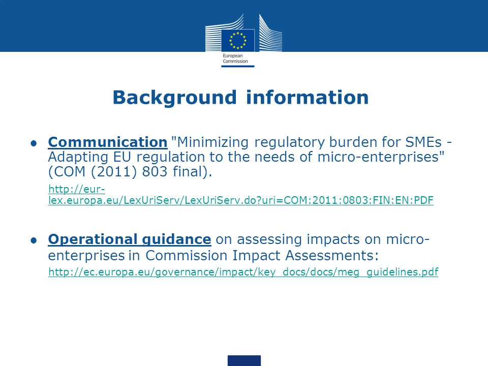 Background information Communication Minimizing regulatory burden for SMEs - Adapting EU regulation to the needs of micro-enterprises (COM (2011) 803 final).