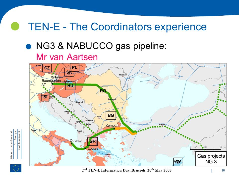 | 16 2 nd TEN-E Information Day, Brussels, 20 th May 2008 TEN-E - The Coordinators experience. NG3 & NABUCCO gas pipeline: Mr van Aartsen