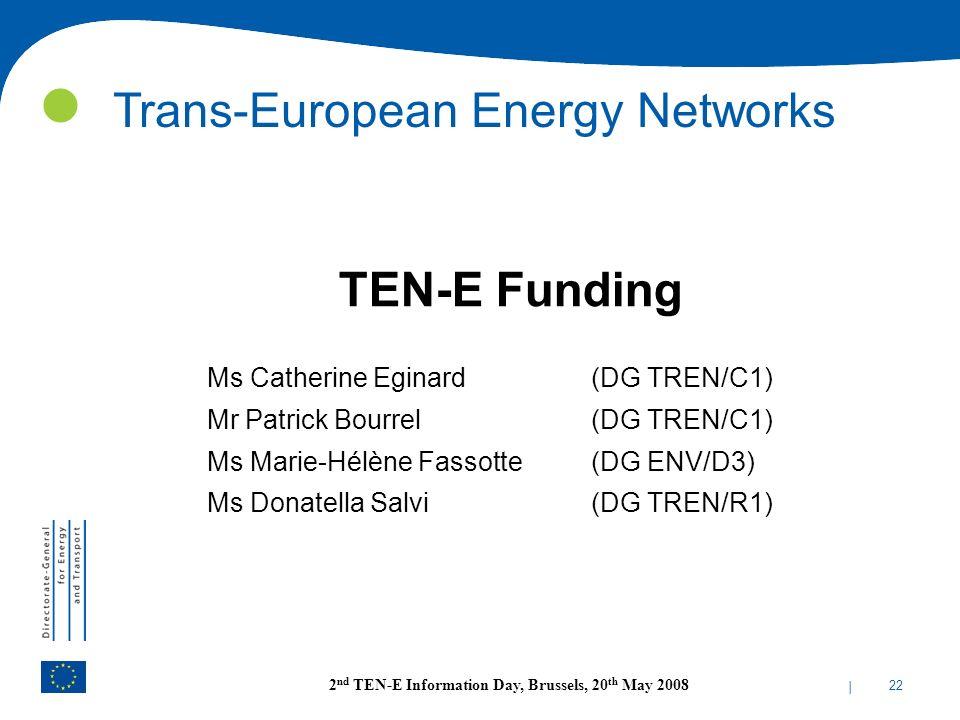 | 22 2 nd TEN-E Information Day, Brussels, 20 th May 2008 TEN-E Funding Ms Catherine Eginard (DG TREN/C1) Mr Patrick Bourrel (DG TREN/C1) Ms Marie-Hél