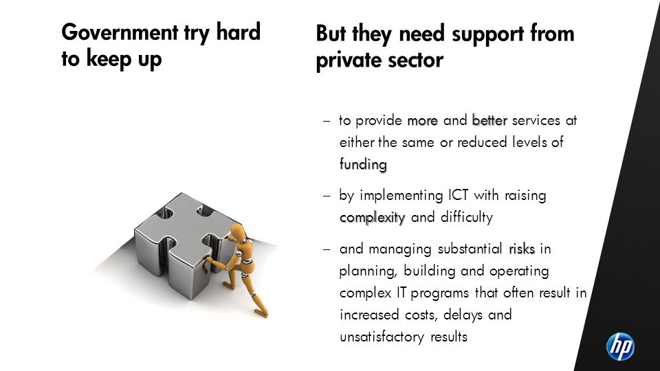 ©2010 HP Confidential4 PPP main characteristics – Long-term contracts between a public contracting authority and a private sector company on the procurement of services – Focus on the specification of project outputs rather than project inputs in order to deliver better value for money – Payments reflect the services delivered (outcomes) – Transfer of certain project risks to the private sector (design, build, operate and/or finance) with use of private financing – Typically large projects with a significant build component - projects below a certain threshold 25 M do not justify the additional transactional cost associated to PPP