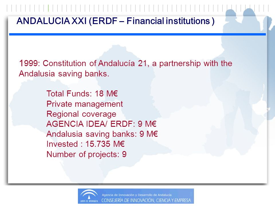 1 999: Constitution of Andalucía 21, a partnership with the Andalusia saving banks. Total Funds: 18 M Private management Regional coverage AGENCIA IDE