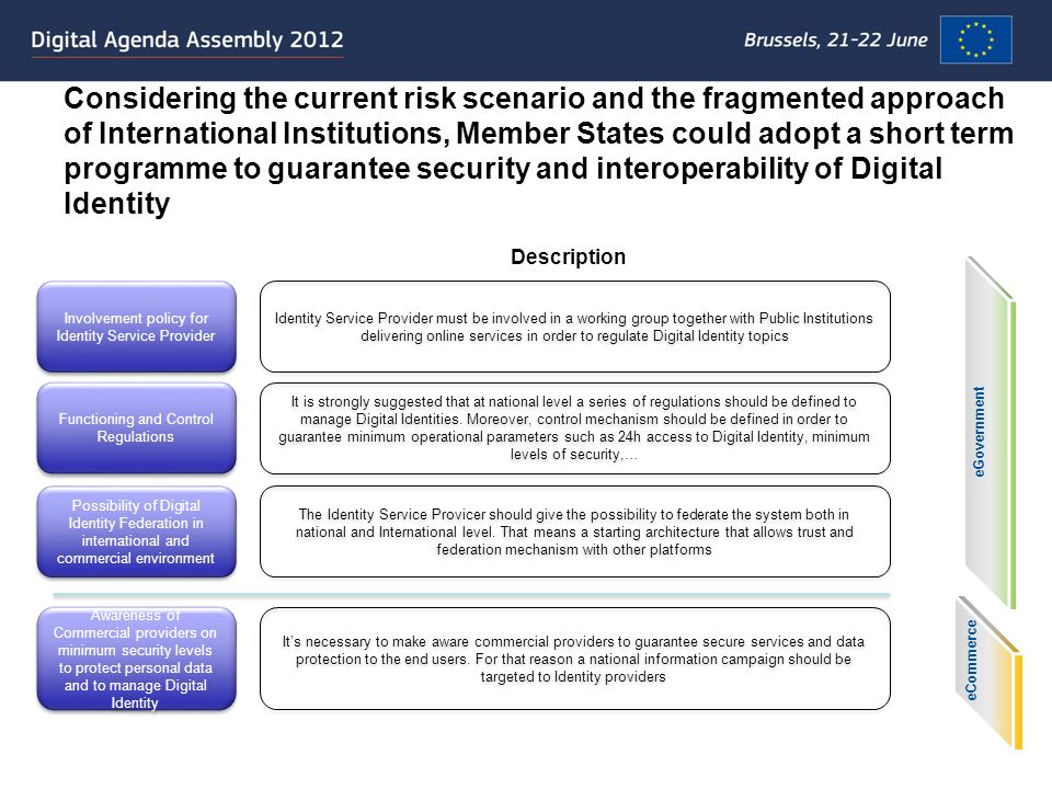 Considering the current risk scenario and the fragmented approach of International Institutions, Member States could adopt a short term programme to g