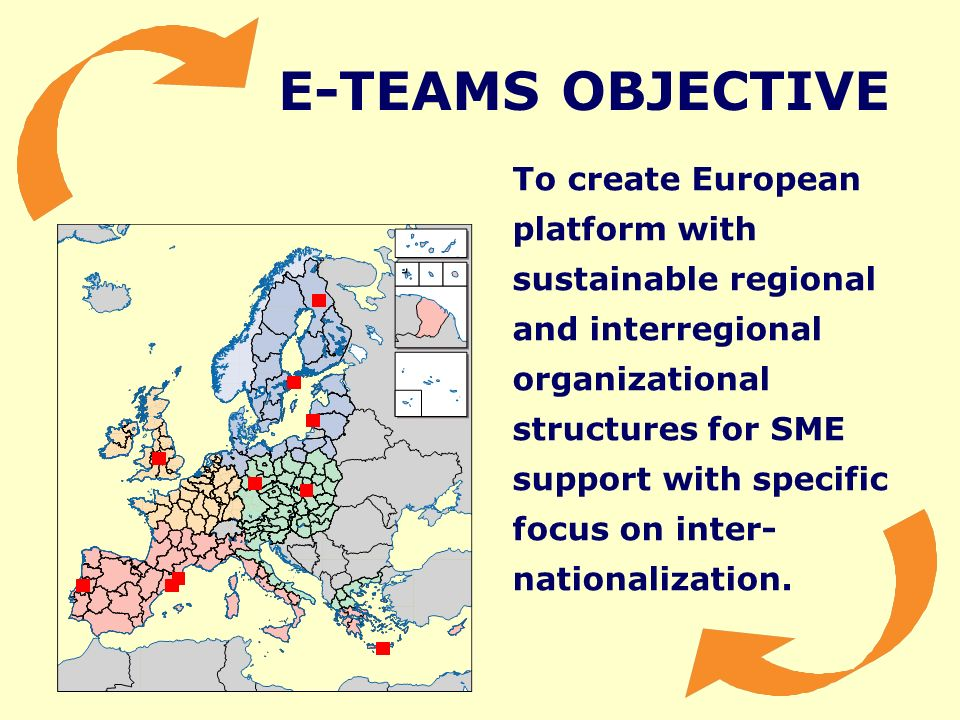 E-TEAMS OBJECTIVE To create European platform with sustainable regional and interregional organizational structures for SME support with specific focus on inter- nationalization.