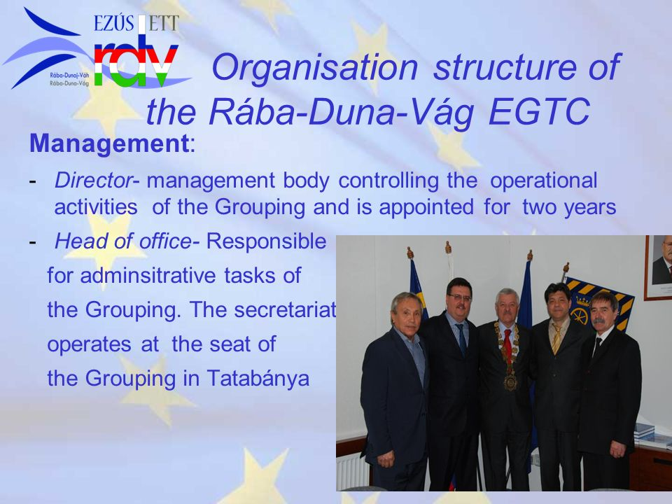 Organisation structure of the Rába-Duna-Vág EGTC Management: - -Director- management body controlling the operational activities of the Grouping and i