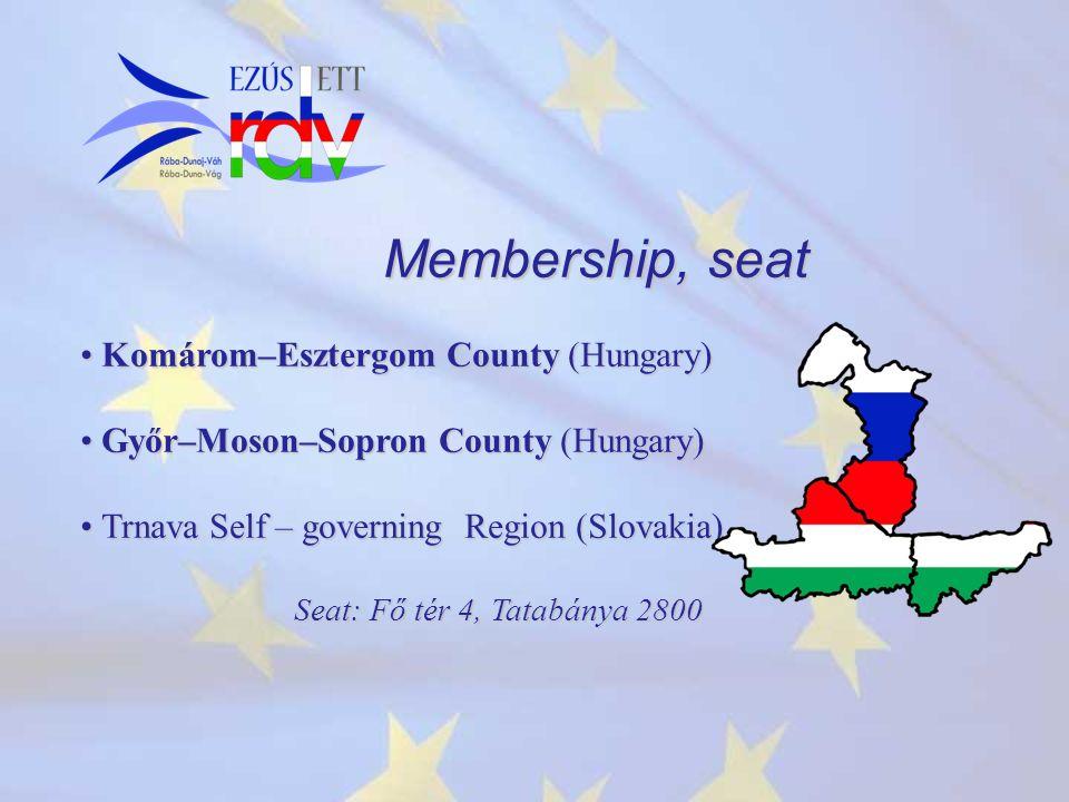 Membership, seat Komárom–Esztergom County (Hungary) Komárom–Esztergom County (Hungary) Győr–Moson–Sopron County (Hungary) Győr–Moson–Sopron County (Hungary) Trnava Self – governing Region (Slovakia) Trnava Self – governing Region (Slovakia) Seat: Fő tér 4, Tatabánya 2800