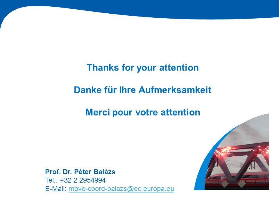Prof. Dr. Péter Balázs, EU Coordinator Thanks for your attention Danke für Ihre Aufmerksamkeit Merci pour votre attention Prof. Dr. Péter Balázs Tel.: