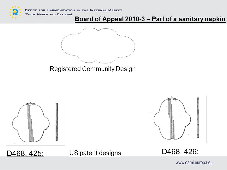 Board of Appeal 2010-3 – Part of a sanitary napkin D468, 426: D468, 425: Registered Community Design US patent designs