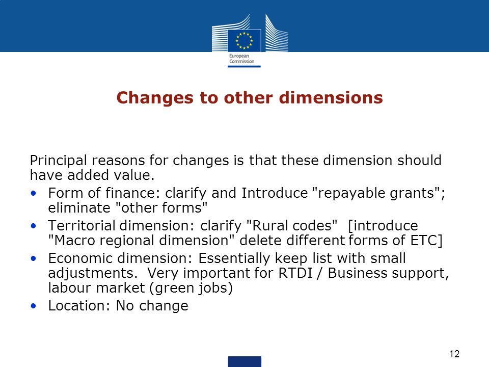 12 Changes to other dimensions Principal reasons for changes is that these dimension should have added value. Form of finance: clarify and Introduce
