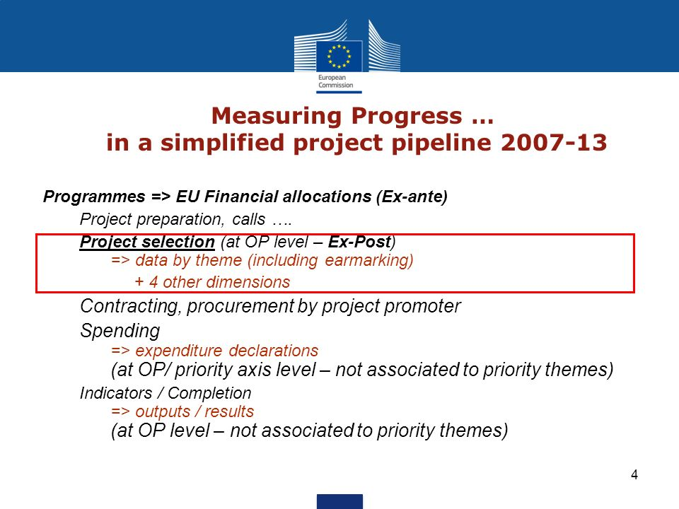 4 Measuring Progress … in a simplified project pipeline 2007-13 Programmes => EU Financial allocations (Ex-ante) Project preparation, calls …. Project