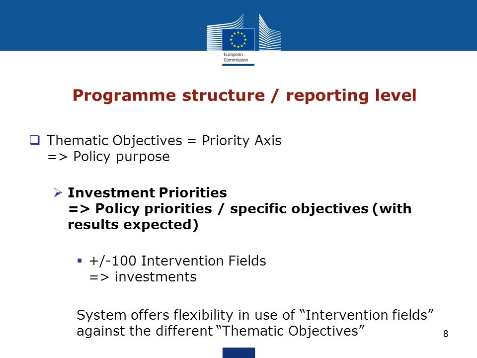 8 Programme structure / reporting level Thematic Objectives = Priority Axis => Policy purpose Investment Priorities => Policy priorities / specific ob