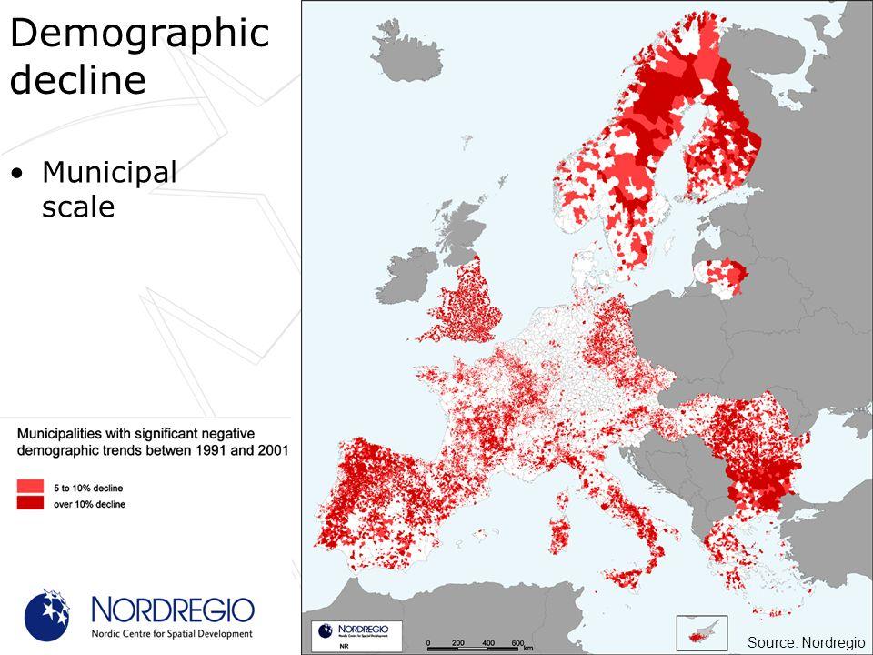Municipal scale Demographic decline Source: Nordregio