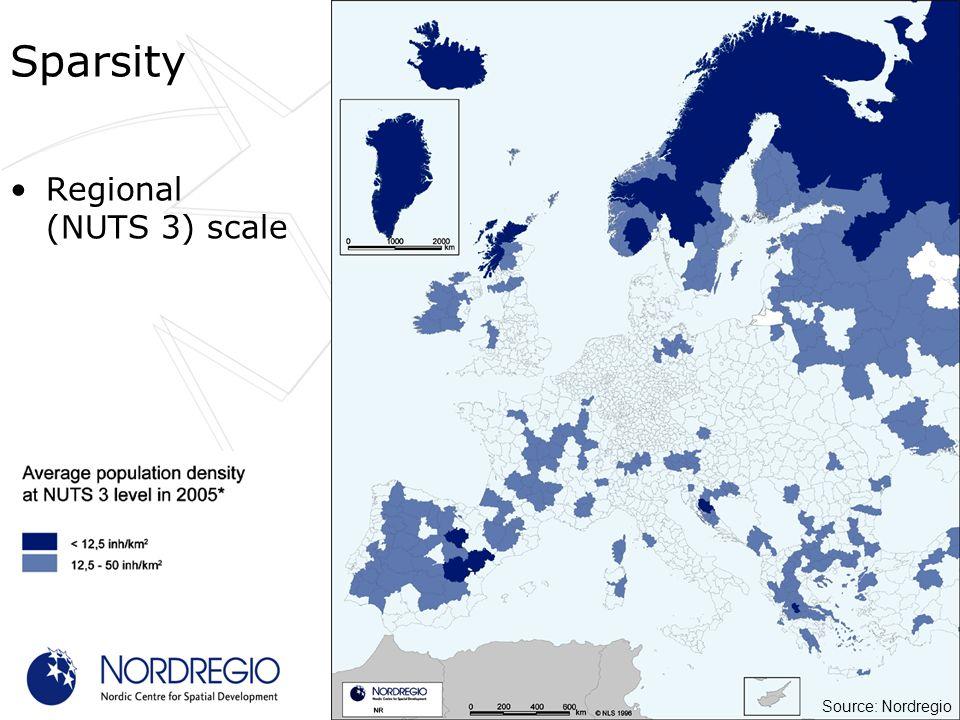 Regional (NUTS 3) scale Sparsity Source: Nordregio