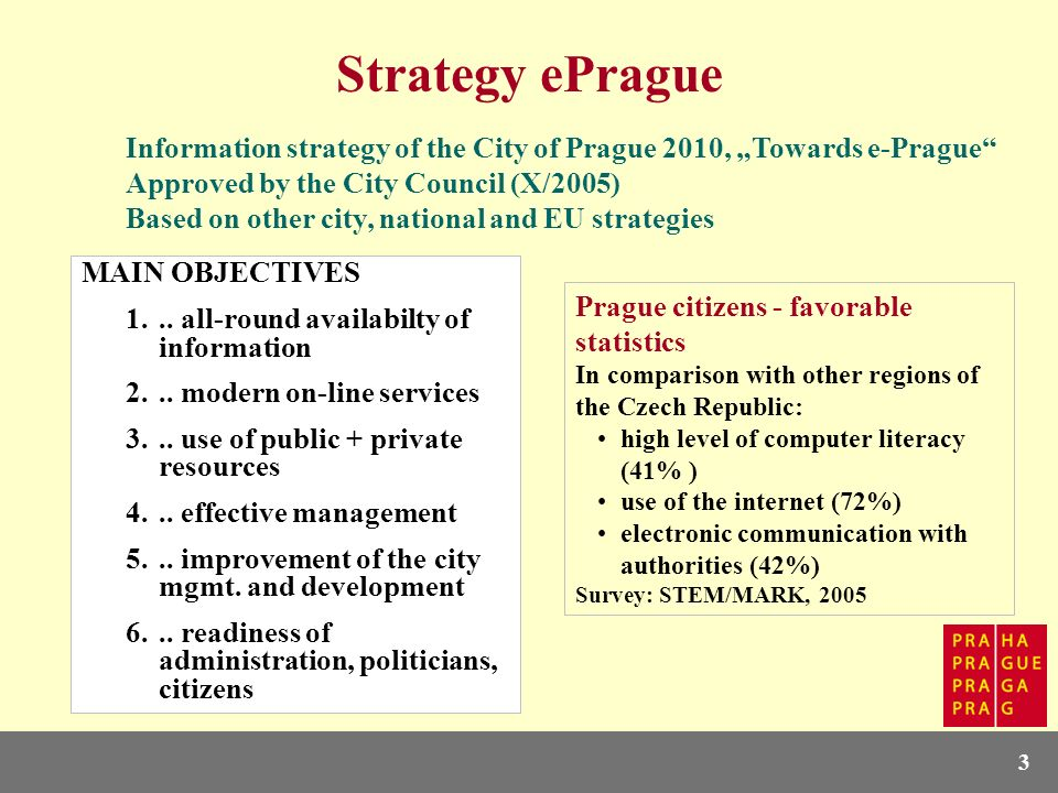 3 Strategy ePrague Information strategy of the City of Prague 2010, Towards e-Prague Approved by the City Council (X/2005) Based on other city, nation