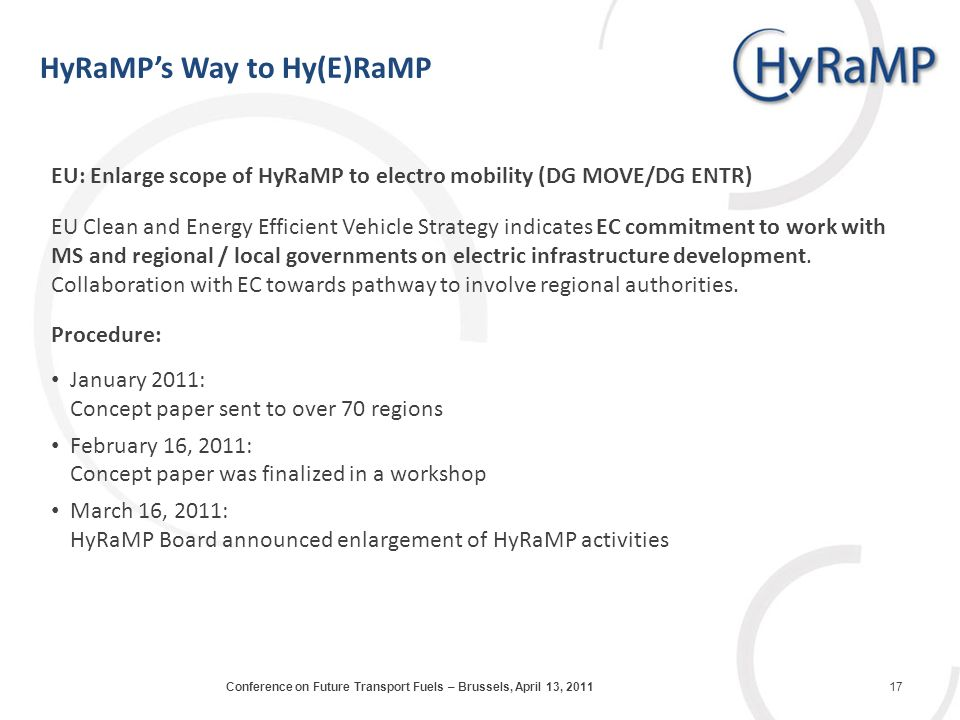 EU: Enlarge scope of HyRaMP to electro mobility (DG MOVE/DG ENTR) EU Clean and Energy Efficient Vehicle Strategy indicates EC commitment to work with MS and regional / local governments on electric infrastructure development.