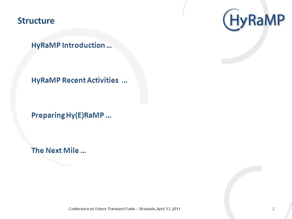 Structure HyRaMP Introduction … HyRaMP Recent Activities … Preparing Hy(E)RaMP … The Next Mile … 2Conference on Future Transport Fuels – Brussels, April 13, 2011