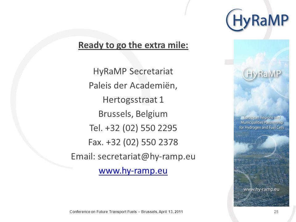 Ready to go the extra mile: HyRaMP Secretariat Paleis der Academiën, Hertogsstraat 1 Brussels, Belgium Tel.