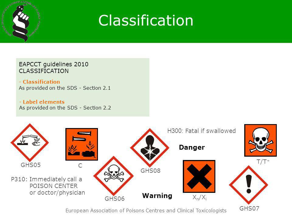 European Association of Poisons Centres and Clinical Toxicologists Danger Warning EAPCCT guidelines 2010 CLASSIFICATION - Classification As provided o