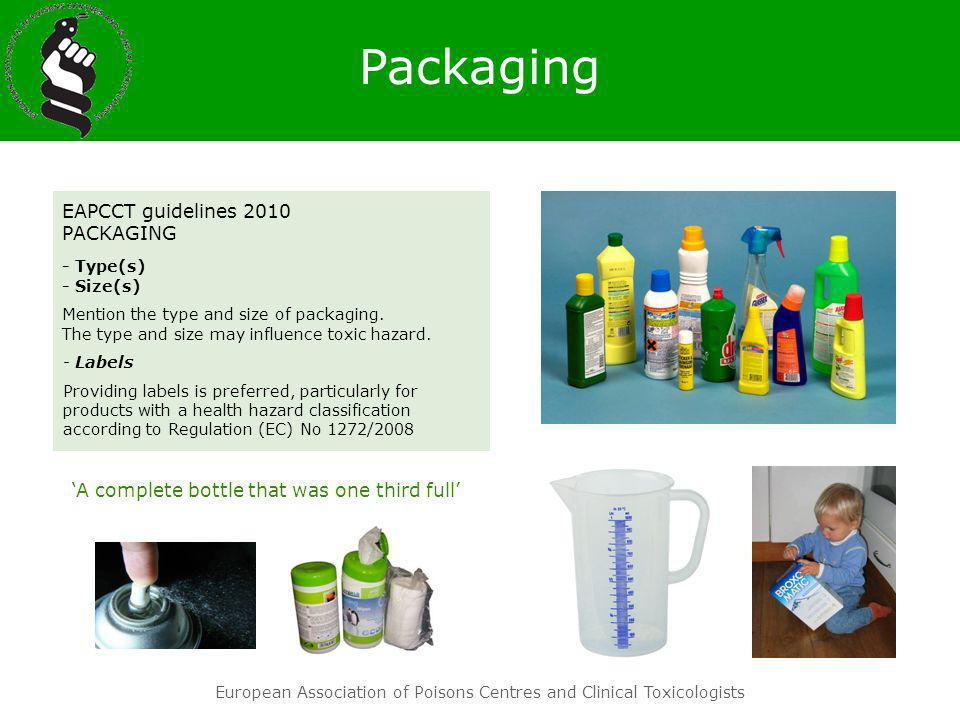 European Association of Poisons Centres and Clinical Toxicologists EAPCCT guidelines 2010 PACKAGING - Type(s) - Size(s) Mention the type and size of p