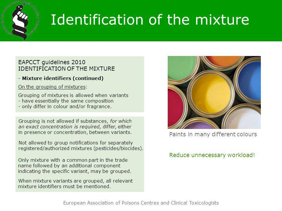 European Association of Poisons Centres and Clinical Toxicologists EAPCCT guidelines 2010 IDENTIFICATION OF THE MIXTURE - Mixture identifiers (continu