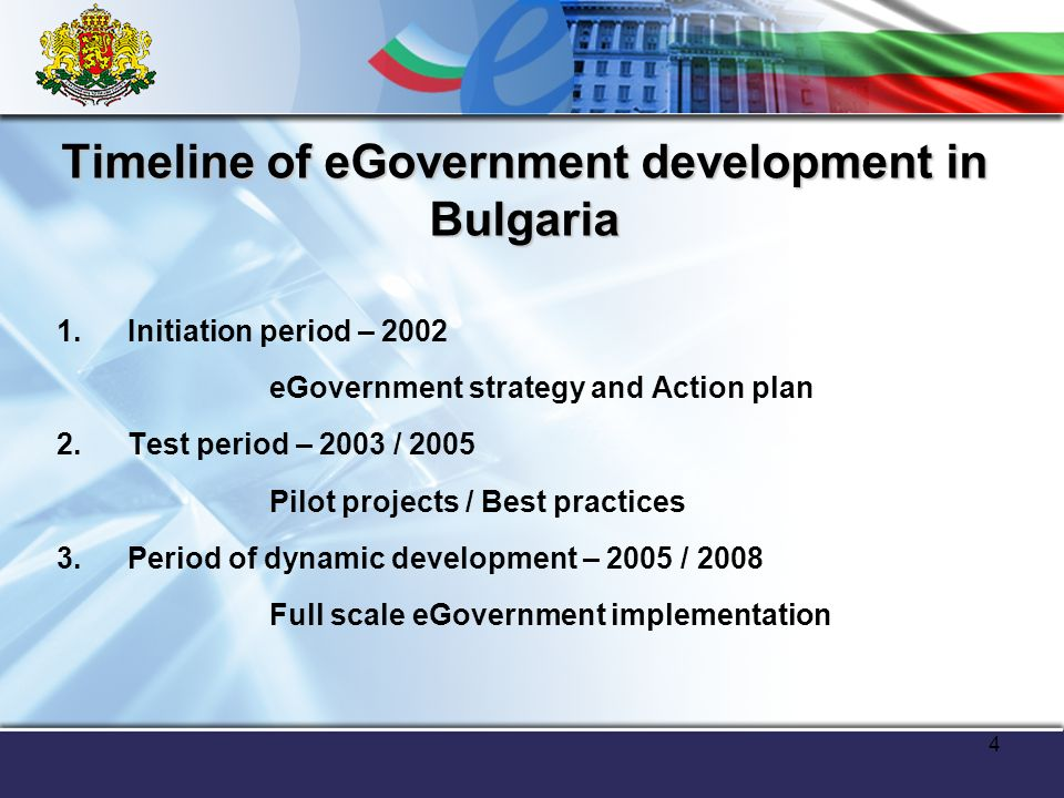4 Timeline of eGovernment development in Bulgaria 1.Initiation period – 2002 eGovernment strategy and Action plan 2.Test period – 2003 / 2005 Pilot projects / Best practices 3.Period of dynamic development – 2005 / 2008 Full scale eGovernment implementation