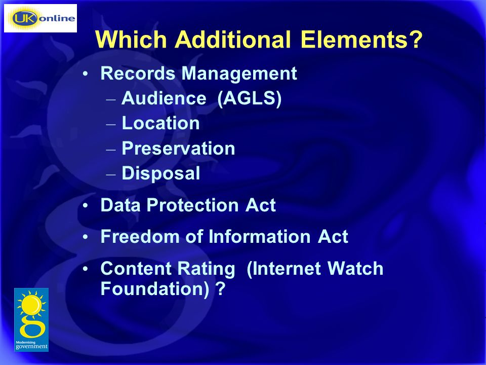 Which Additional Elements.