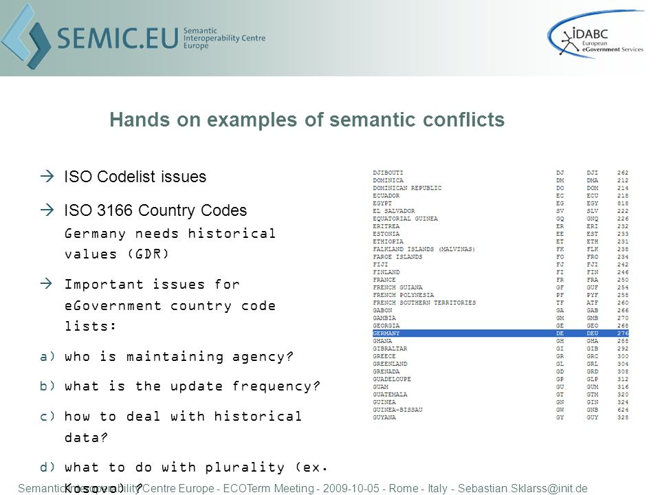 Semantic Interoperability Centre Europe - ECOTerm Meeting - 2009-10-05 - Rome - Italy - Sebastian.Sklarss@init.de Hands on examples of semantic conflicts ISO Codelist issues ISO 3166 Country Codes Germany needs historical values (GDR) Important issues for eGovernment country code lists: a)who is maintaining agency.