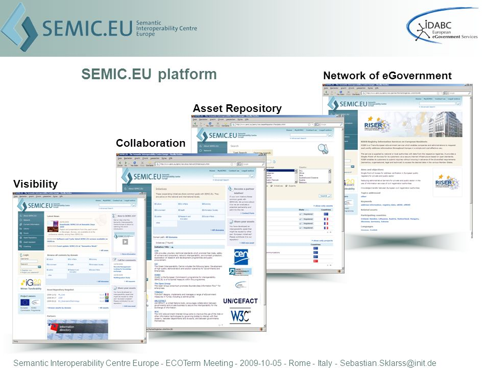 Semantic Interoperability Centre Europe - ECOTerm Meeting - 2009-10-05 - Rome - Italy - Sebastian.Sklarss@init.de SEMIC.EU platform Visibility Collaboration Asset Repository Network of eGovernment