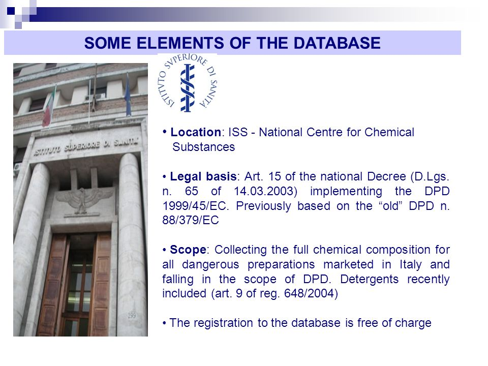 Location: ISS - National Centre for Chemical Substances Legal basis: Art.