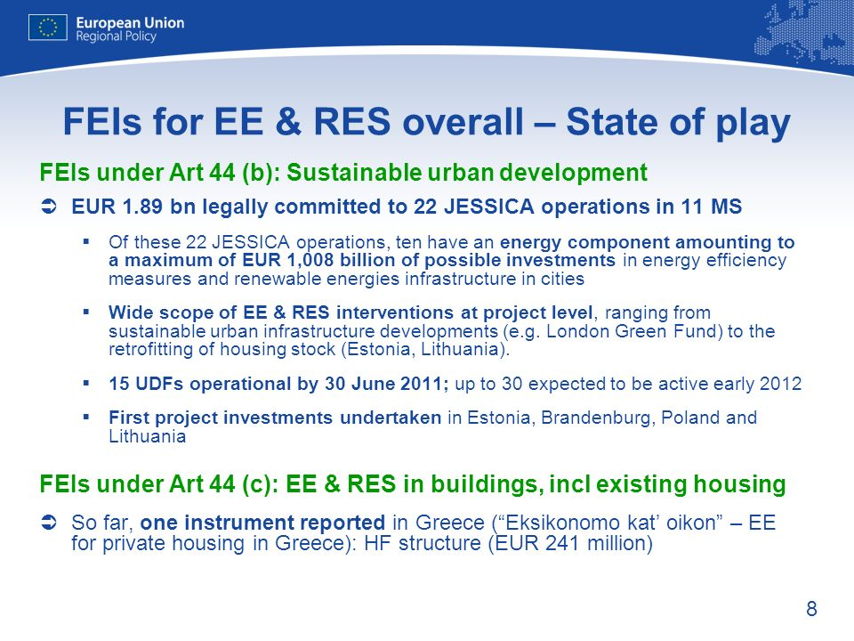 99 FEIs for EE in housing - Experiences EE interventions suitable for repayable investments from FEIs as energy savings & related cost savings serve as revenue-basis However, shift from grant culture to repayable investments is not self- evident (change of paradigm, financing capacity of final recipients, etc.) Success factors: Combination of FEIs and grants essential Financial incentives, such interest rate subsidies or grants to cover the self- financing share of final recipients Performance incentives, such as incremental capital rebates or interest rates related to EE gains / categories reached Technical assistance & project preparation, such as energy audits, planning documents, etc.