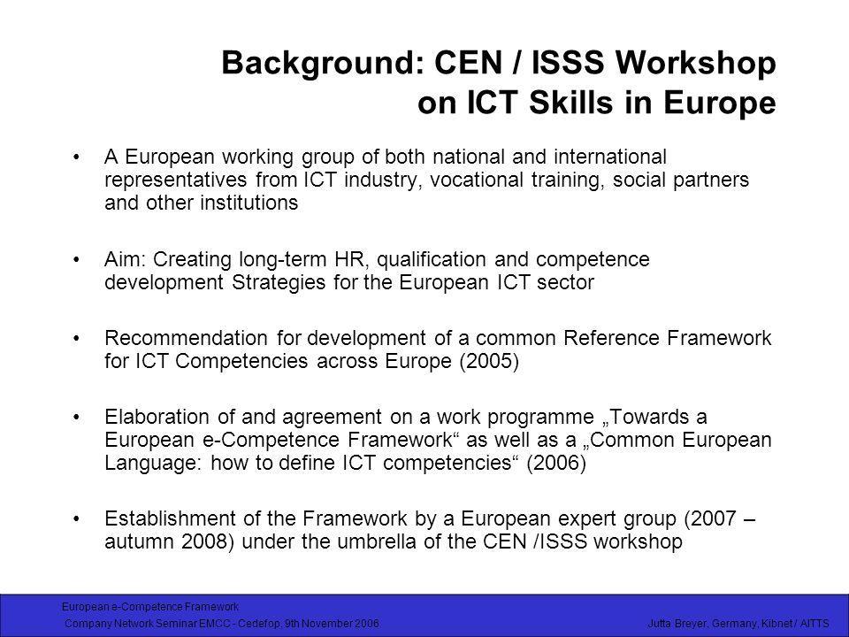 European e-Competence Framework Company Network Seminar EMCC - Cedefop, 9th November 2006 Jutta Breyer, Germany, Kibnet / AITTS Members, partners involved in the work so far