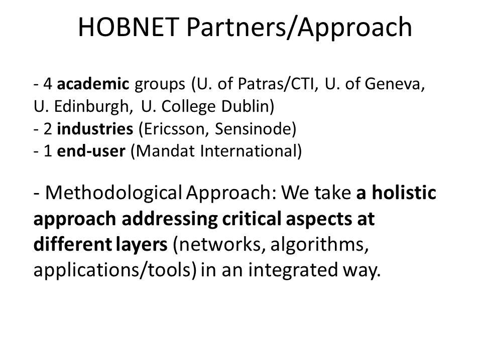 - 4 academic groups (U. of Patras/CTI, U. of Geneva, U. Edinburgh, U. College Dublin) - 2 industries (Ericsson, Sensinode) - 1 end-user (Mandat Intern