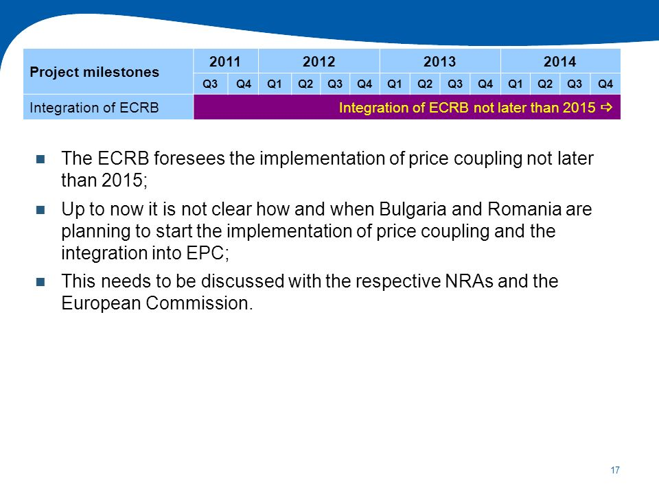17 The ECRB foresees the implementation of price coupling not later than 2015; Up to now it is not clear how and when Bulgaria and Romania are plannin