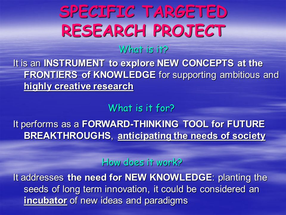 …the art of MAKING PILLARS! SPECIFIC TARGETED RESEARCH PROJECT