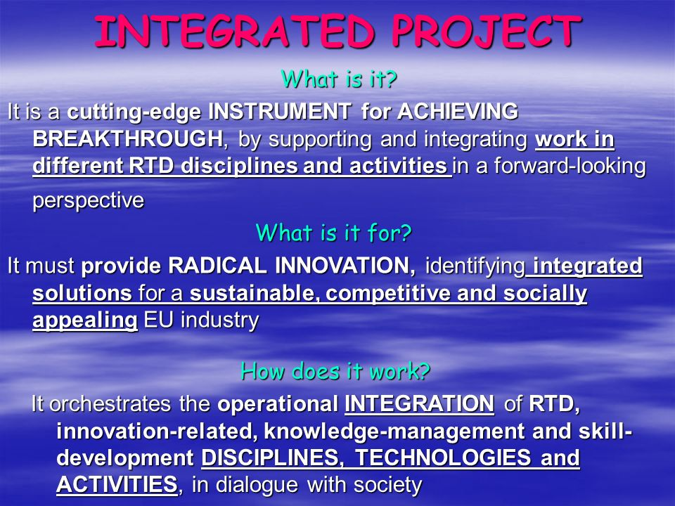INTEGRATED PROJECT …the art of BUILDING BRIDGES!