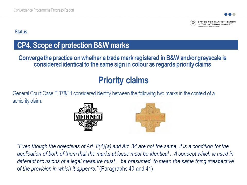 Status CP4. Scope of protection B&W marks Convergence Programme Progress Report Priority claims Converge the practice on whether a trade mark register