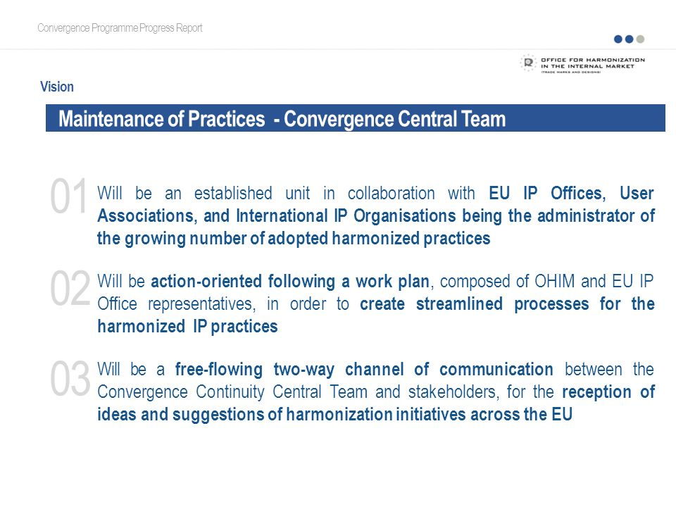 The European Trade Mark and Design Network - Central Team Convergence Programme Progress Report Vision Will be an established unit in collaboration wi