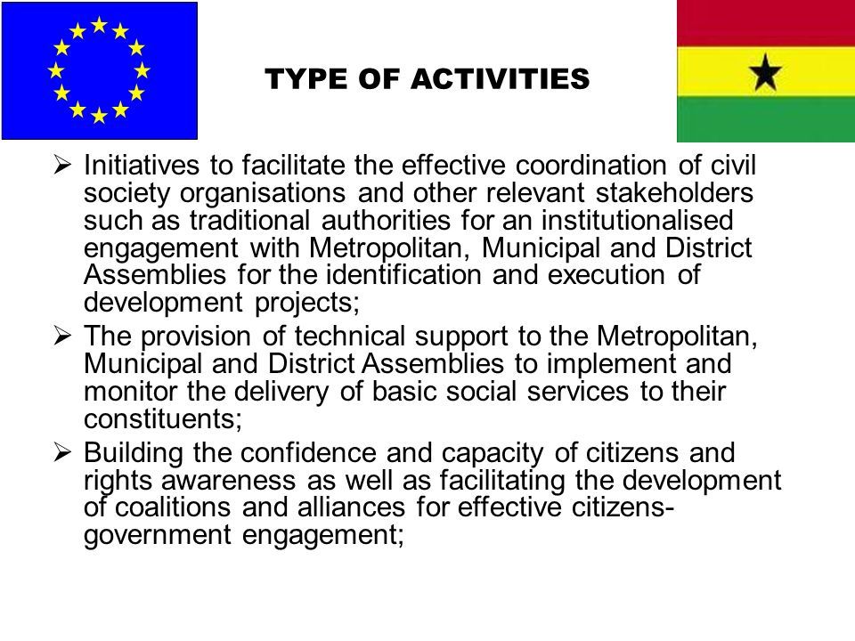 TYPE OF ACTIVITIES Initiatives to facilitate the effective coordination of civil society organisations and other relevant stakeholders such as traditi
