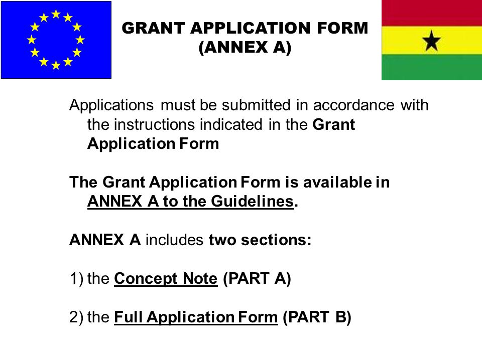 GRANT APPLICATION FORM (ANNEX A) Applications must be submitted in accordance with the instructions indicated in the Grant Application Form The Grant