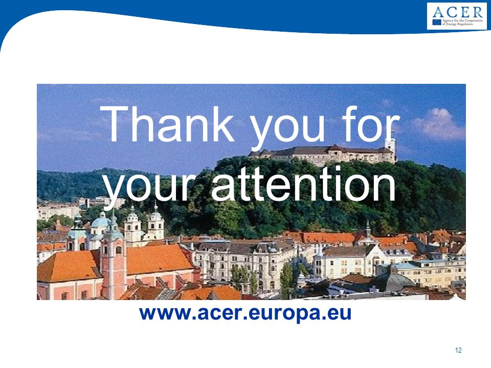 12 Thank you for your attention www.acer.europa.eu