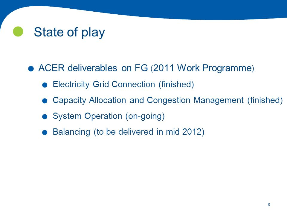 8 State of play. ACER deliverables on FG ( 2011 Work Programme ).