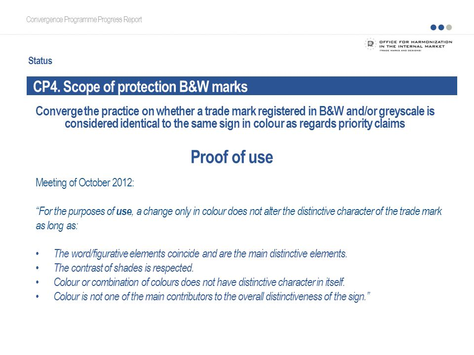 Status CP4. Scope of protection B&W marks Convergence Programme Progress Report Proof of use Meeting of October 2012: For the purposes of use, a chang