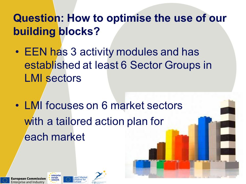 Question: How to optimise the use of our building blocks? EEN has 3 activity modules and has established at least 6 Sector Groups in LMI sectors LMI f