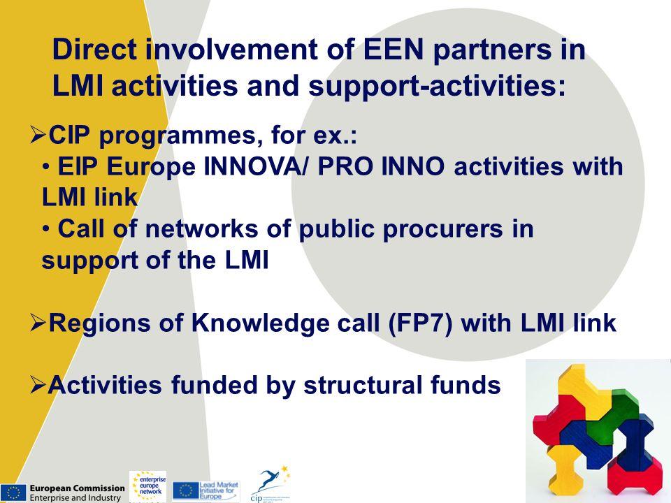 Direct involvement of EEN partners in LMI activities and support-activities: CIP programmes, for ex.: EIP Europe INNOVA/ PRO INNO activities with LMI