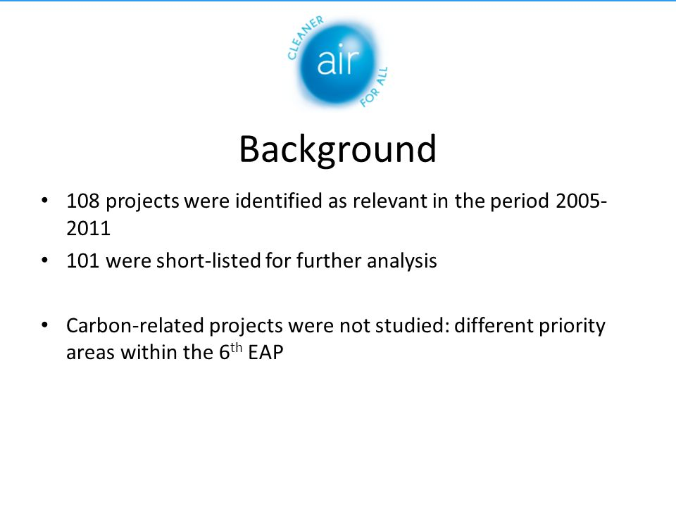 Structure of the study 1.Trends from 1992 until 2011 2.Evaluation of projects in relation to EU air policy and legislation 3.Analysis of projects achievements 4.Conclusions