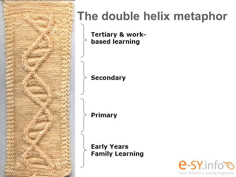 The double helix metaphor Early Years Family Learning Primary Secondary Tertiary & work- based learning