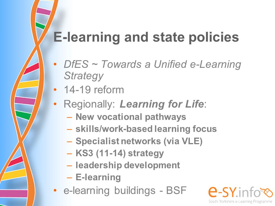 E-learning and state policies DfES ~ Towards a Unified e-Learning Strategy 14-19 reform Regionally: Learning for Life: –New vocational pathways –skill